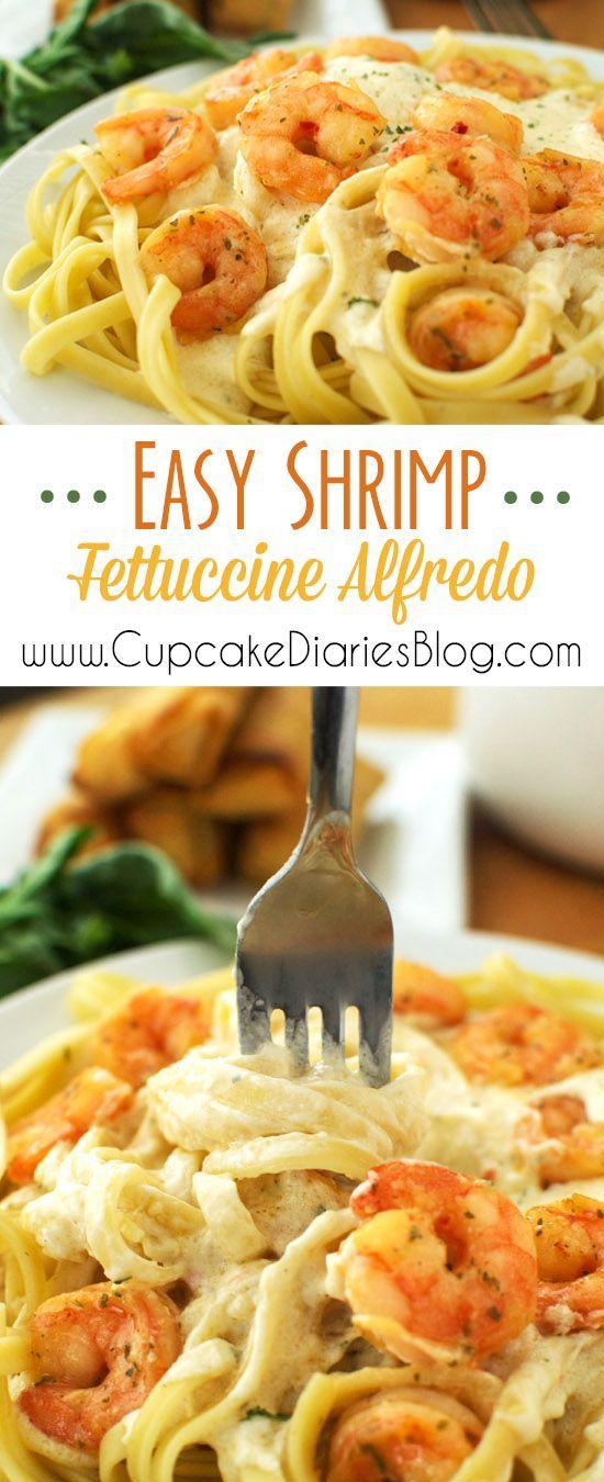 Easy Shrimp Fettuccine Alfredo #ShrimpItUp #ad: