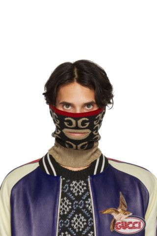0ff55cc4c5df9 Buy Gucci Black & Brown Mouth Opening Neck Warmer on SSENSE.com and take