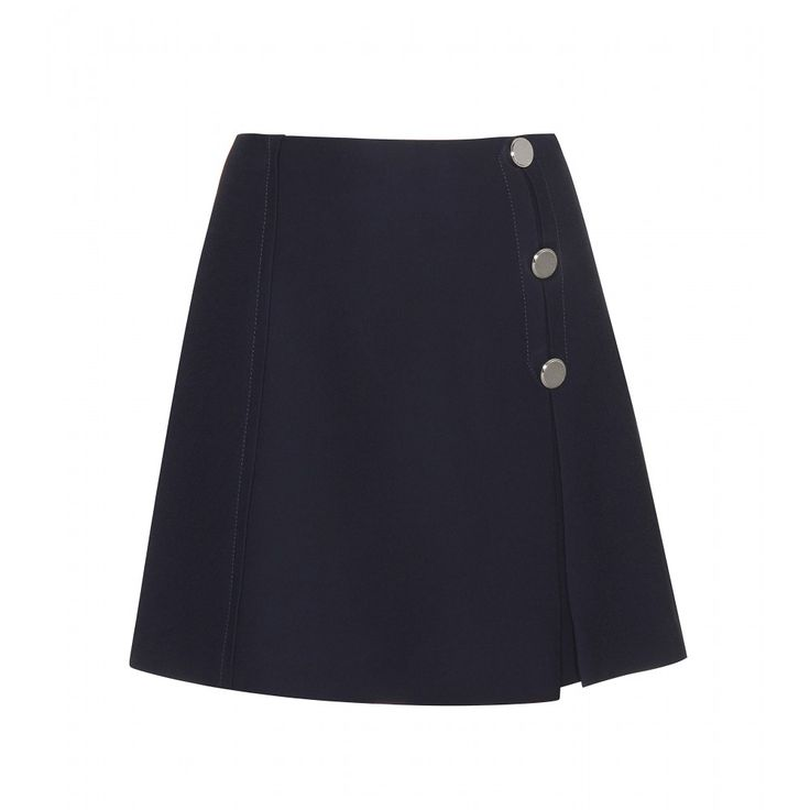 Miu Miu - Buttoned crepe miniskirt - Miu Miu's revival of the Swinging Sixties is largely visible in this navy miniskirt. The short-but-sweet style features a carefully designed pleat and oversized button detailing. We love it as part of an old-school, preppy ensemble with a shirt and cardigan. seen @ www.mytheresa.com