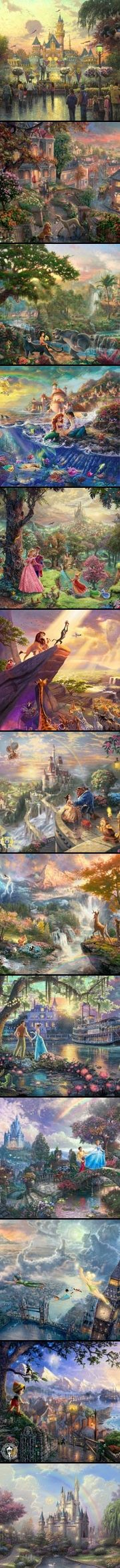 Thomas Kinkade Disney Paintings: Disney world, Lady & the Tramp, The Jungle Book, The Little Mermaid, Sleeping Beauty, The Lion King, Beauty & the Beast, Bambi, The Princess & the Frog, Cinderella, Peter Pan, Pinocchio, Disney Castle