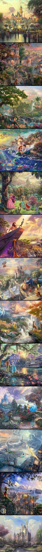 Thomas Kinkade Disney Paintings: Disney world, Lady & the Tramp, The Jungle Book, The Little Mermaid, Sleeping Beauty, The Lion King, Beauty & the Beast, Bambi, The Princess & the Frog, Cinderella, Peter Pan, Pinocchio, Disney Castle