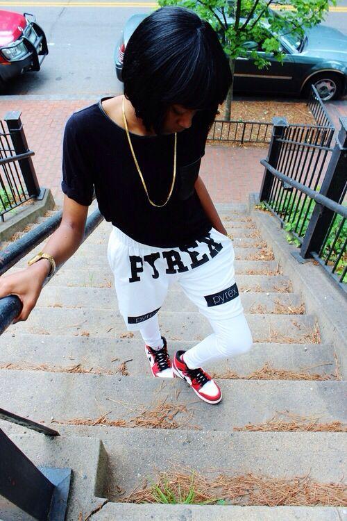 Pyrex Clothing USA Shorts Black White Leggings Jordan 1 Gold Chain Swag Streetwear Urban Fashion Style Dope