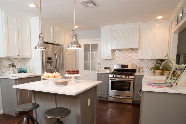 "As seen on HGTV's ""Fixer Upper."": Hgtv Kitchens, Dreams Kitchens, Joanna Gain, Color, Hgtv S Fixer, Gray Cabinets, Gray Kitchens, Fixer Upper, White Kitchens"