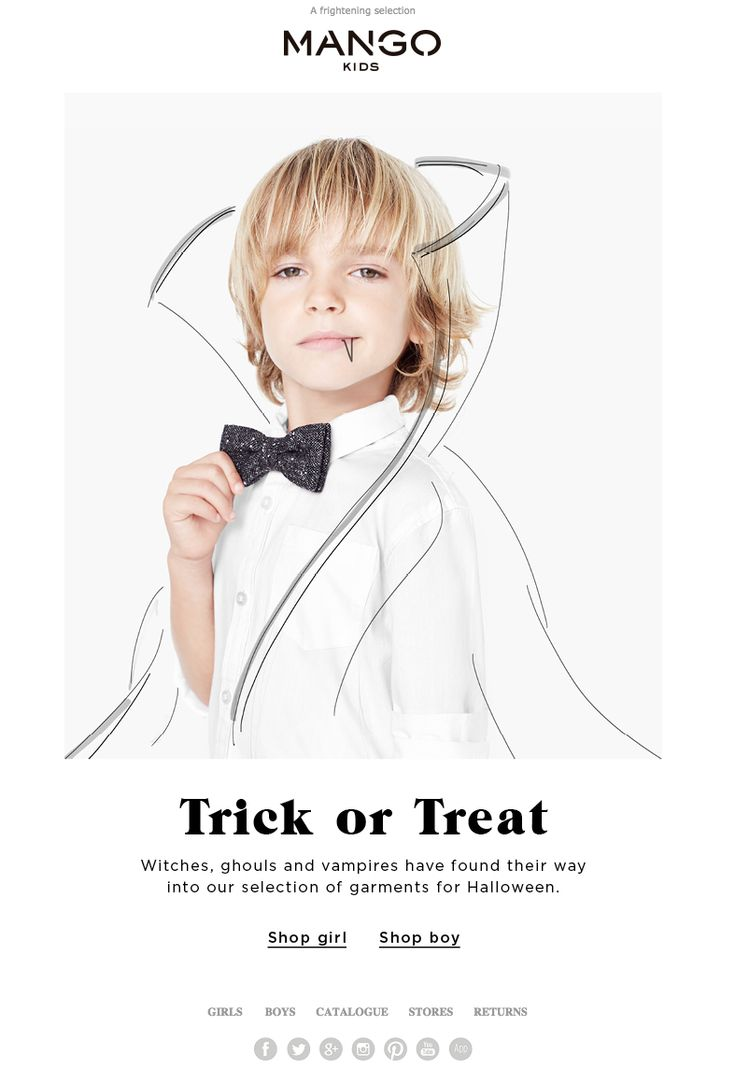Clever interplay of (product?) photo and illustration. Mango Kids - Mailer // Email Design. Halloween