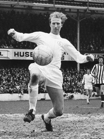 Big Jack Charlton in action against Southampton during a league match in the sixties. He remains our only ever World cup winner whilst a Leeds player. A late developer he was much less famed than brother Bobby but a solid member of Revie's great team. Met him twice and he is a true gentleman!