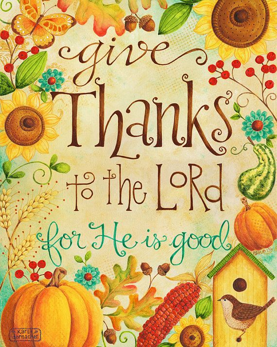 Give Thanks to the Lord 8x10 Art Print Christian Bible Verse Thanksgiving