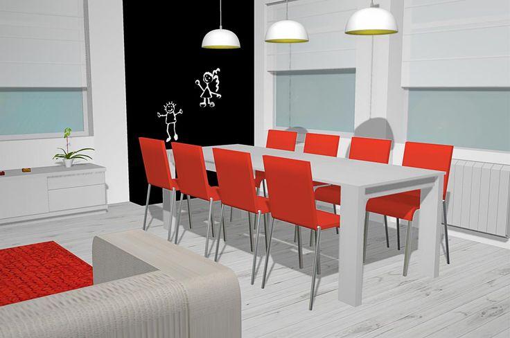 Con esta imagen podemos ver la mesa extensible de más cerca la cual está en color blanco DP como el resto de los muebles que hay en el salón los cuales veremos después, también junto con la mesa extensible tenemos 8 sillas en un vistoso color naranja como la alfombra, encima de la mesa hay colocadas 3 lámparas las cuales podemos recoger el cable para cuando tengamos que cerrar la mesa ya que así solo me hacen falta 2 lámparas, la verdad es que son muy prácticas.
