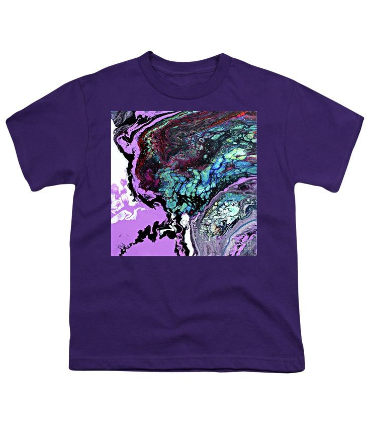 Dynamic Dramatic Exciting Fluid Abstract Bright Pastel Raspberry Purple Dominates Turquoise Black White Burgundy Blue.lots Of Pattern Texture And Good Negative Space  Youth T-Shirt featuring the painting #378 by Expressionistart studio Priscilla Batzell