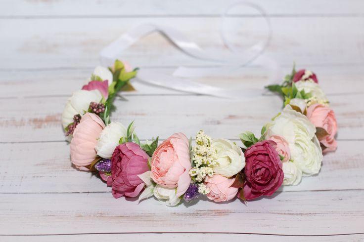 wedding flower crown, flower crown, bridal flower crown, floral crown, wedding crown , floral headband, bridal headband white pink flower by forBridal on Etsy