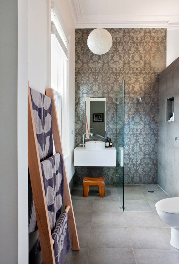 Tapware and Spanish u0027wallpaperu0027 tiles from Estilo original resin ball light. Teak footstool from One Small Room. & 22 best bathrooms with black tiles images on Pinterest | Black ... azcodes.com