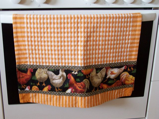 A country farmyard of chickens, decorative tea towel by Created by Cath., via Flickr