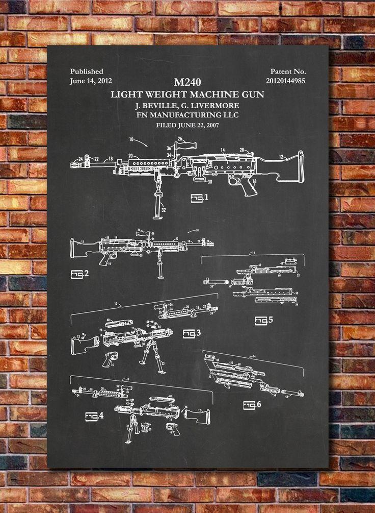 M240 Machine Gun Patent Print Art 2012 by CatkumaPatentPress