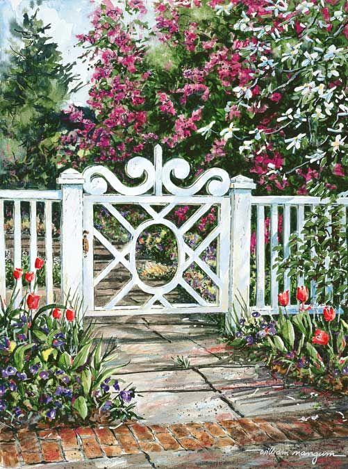 William Mangum Fine Art An Intricately Designed White Gate Provides An  Entryway To A Garden Full Of Blooms. The Garden Is Located In Wilmington,  NC.