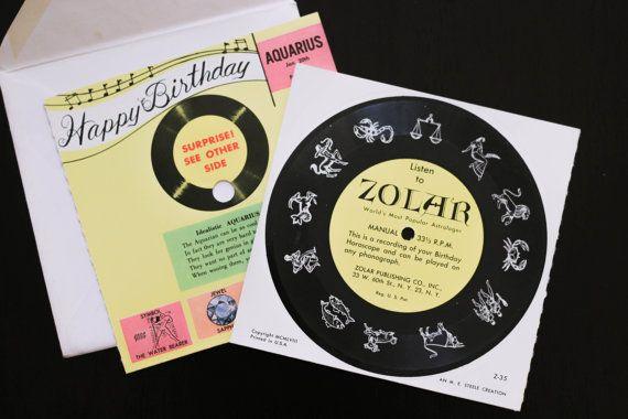 Aquarius Zolar Birthday Record Card by ShopDesertRats on Etsy