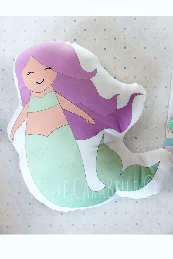 Mermaid cushion pillow. Soft cotton pale mint green and soft