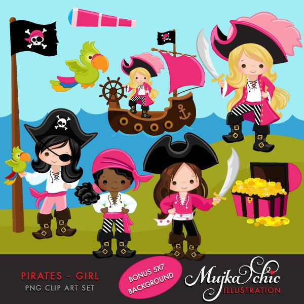 Pirates, Ships and Treasure Island Clipart – Girls Instant Download Pirate graphics by mujka on Etsy