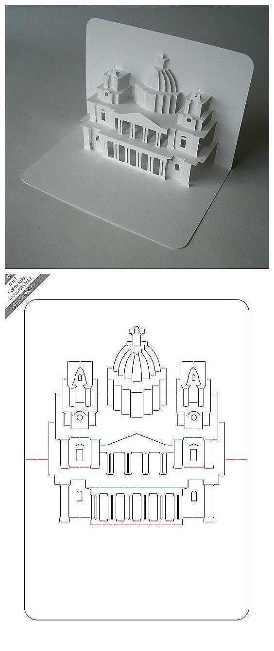 DIY origami paper art paper-cut [the stereo card] St. Paul's Church