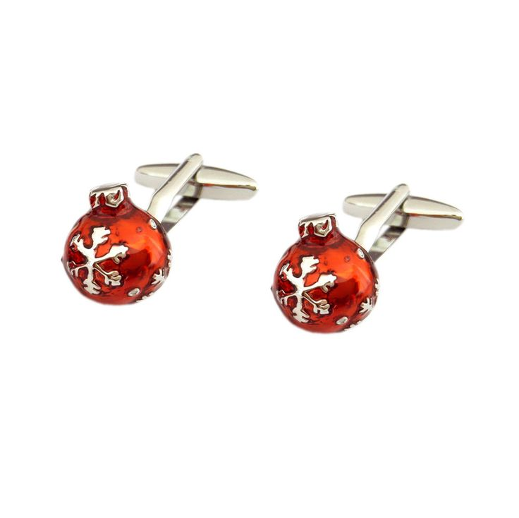 Detailed Red Christmas Bauble Ball CUFFLINKS Secret Santa Birthday Present