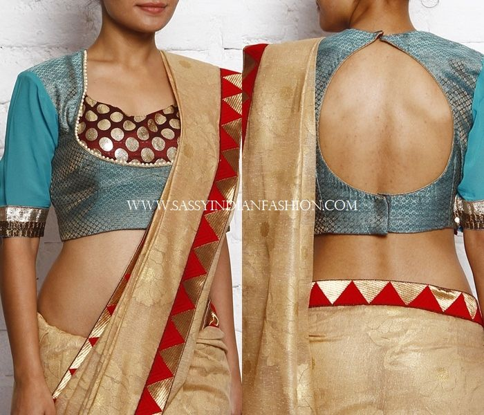 patch work blouse designs for silk sarees