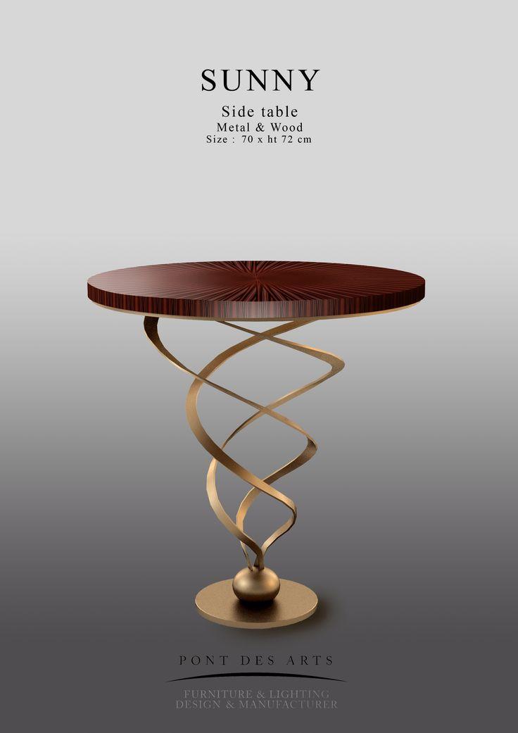 Sunny table - Brass And Wood - Pont des Arts - Designer Monzer Hammoud - Paris