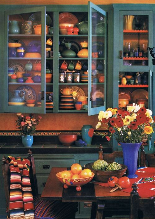 Vintage Looking Mexican Kitchen With Talavera Glassware Fiestaware