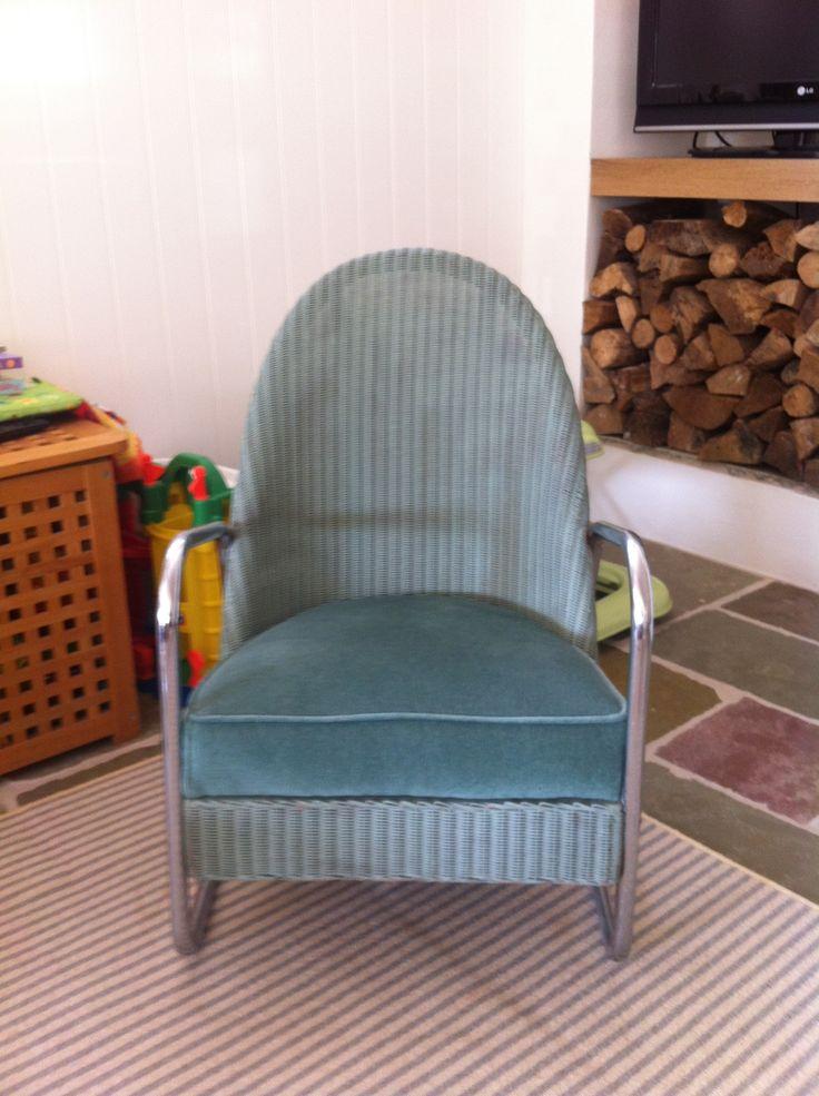 Unusual Vintage Metal Framed Lloyd Loom Chair