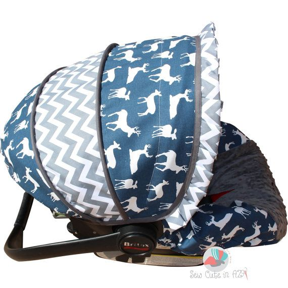 Infant Car Seat Cover Navy Deer Silhouette by sewcuteinaz on Etsy
