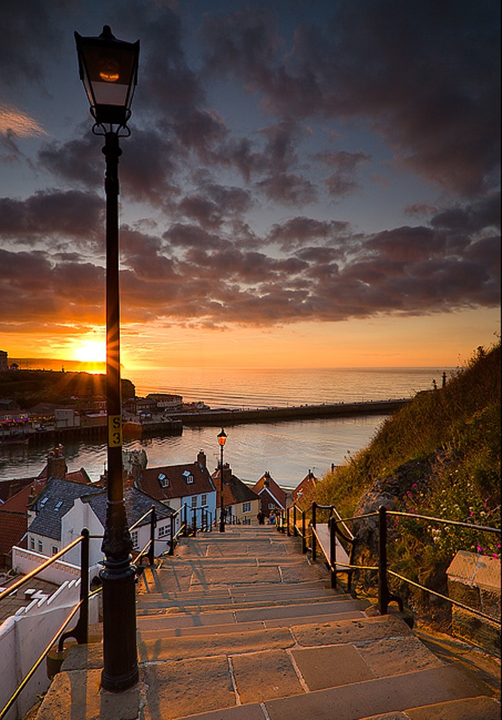 Magical stairs...: North Yorkshire, Stairs, Yorkshire England, England Travel, Sunsets, Beautiful Places, Stairways, Step, The Sea