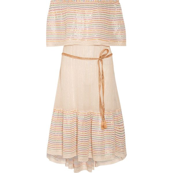 Miguelina Amaya off-the-shoulder striped cotton-blend midi dress ($375) ❤ liked on Polyvore featuring dresses, cream, pink midi dress, off shoulder midi dress, striped midi dress, beach party dresses and off the shoulder dress