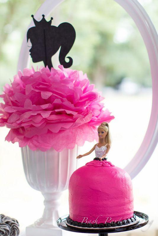 Barbie Centerpiece & Cake at Vintage Barbie Bash #barbieparty #barbie #centerpiece More party ideas at https://www.facebook.com/BashCandyDessertBuffets