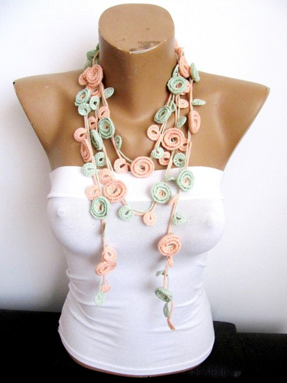 Crochet Necklace PEACH MINT ROSES necklace Turkish by byGuls