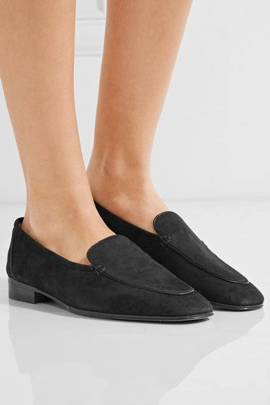 The Row - Adam Suede Loafers - Black