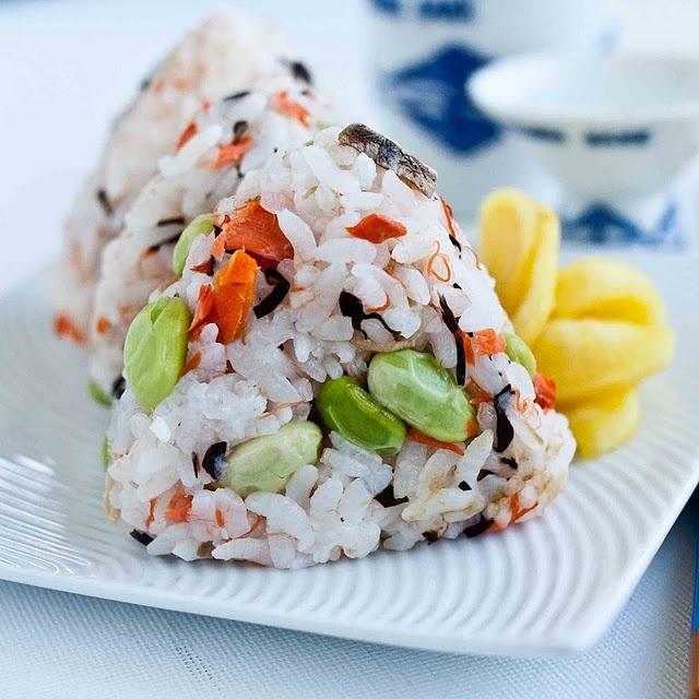 asian: onigiri with salmon and edamame...