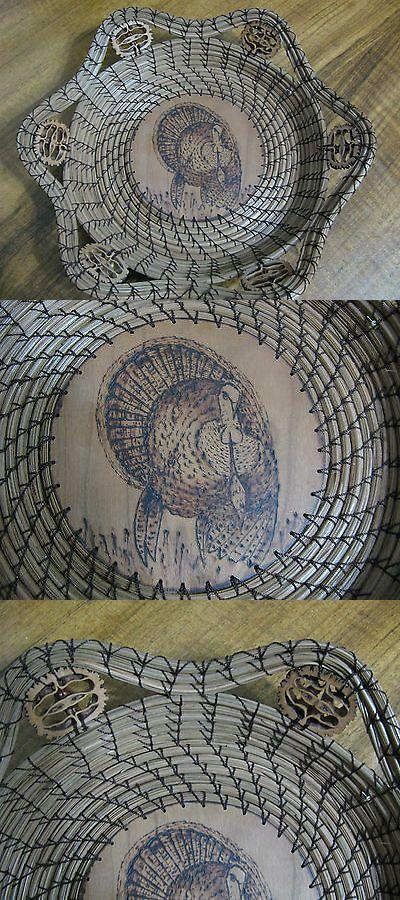 Baskets 134306: Wood Burnt Image Of Tom Turkey Pine Needle Basket -> BUY IT NOW ONLY: $85 on eBay!