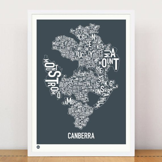 CANBERRA  Suburban Type Print by burbia on Etsy