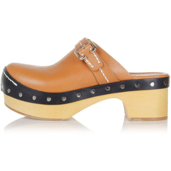 Prada Leather Clog with Buckle ($390) ❤ liked on Polyvore featuring shoes, clogs, brown, brown leather shoes, rubber sole shoes, leather clogs, prada shoes and brown shoes