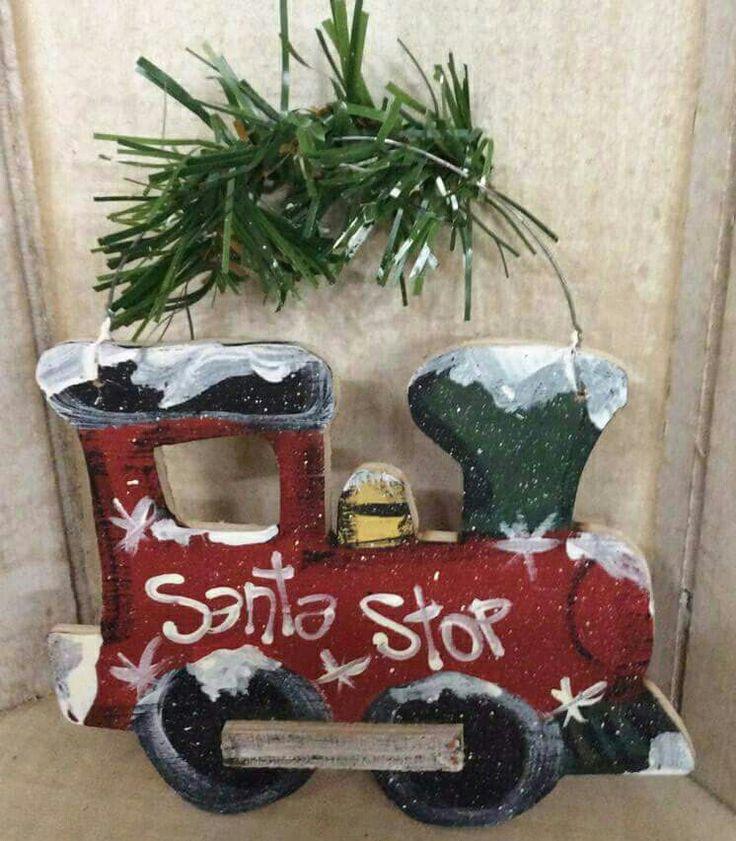 Cute Christmas train wood craft Santa stop