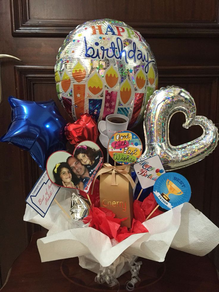 Happy birthday balloon and chocolate bouquet