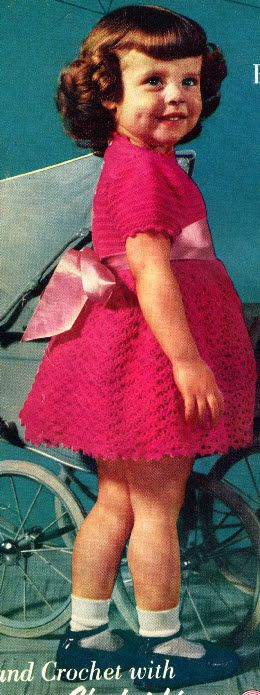 Little girl's crocheted dress: free vintage pattern, could be nice in the right wool with a distressed silk rough ribbon....