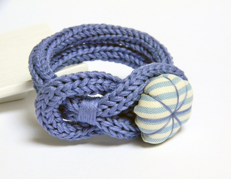Periwinkle violet knitted cotton yarn bracelet, handmade fabric flower button, tied up, yarn jewelry. via Etsy.