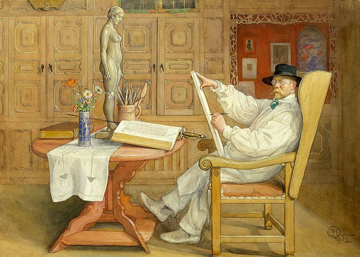 Self-Portrait, In the new studio Carl Larsson Künstler Maler Malen B A3 00983 - Billerantik