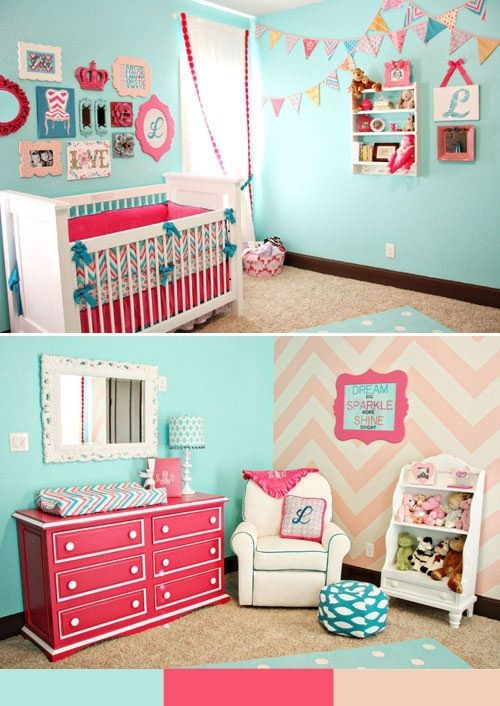 I love the blue walls with the pink decorations. Not so much the pink wall. But this would be perfect to have if you have a boy after the girl. You just have to change the decorations!!!
