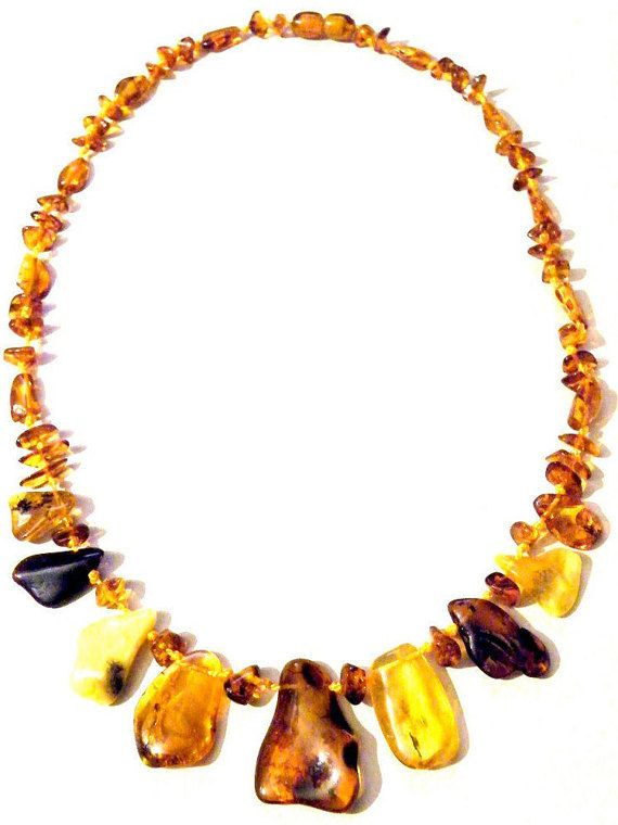 Gorgeous overlapping Multicolour Baltic Amber Squares handcrafted Bead Necklace Zi32oNOjh7