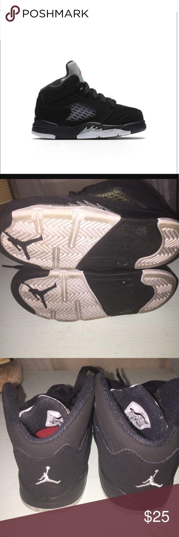 Toddler Retro Jordan 5 Silver & Black Great condition Retro Jordan toddler 5 black and silver Nike Shoes Sneakers