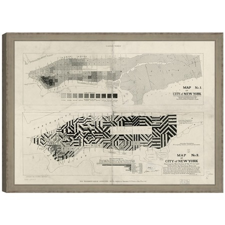 "need a palm beach one . New York City Framed Map  $424.95 $609.00  Bring a rich sense of history to your home décor with the beautiful New York City Framed Map. Showcasing population and nationality spreads from 1894, this fascinating display brings the rich flavors of Manhattan's past to your bedroom, living room, or office.        Product: Wall art      Color: Weathered gray      Features:          Will enhance any space          Made in the USA      Size: 34"" H x 47"" W x 1.5"" D jossWall Art, New York Cities, City Maps, Frames Prints, Cities Maps, Maps Frames, Art International, New York City, Barbara Cosgrove"