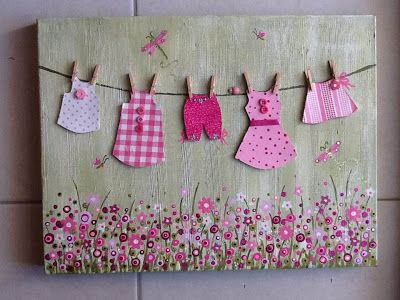 Cute mixed media on canvas...from the 'clothesline' series....Childrens wall art...$65 plus delivery