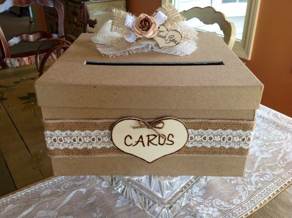 Rustic Wedding Card Box Wedding Card Holder by ladedadesign, $49.99. @Michelle Abreu to Michaels we go- a hat box with lace and a card sign. lets do it :)