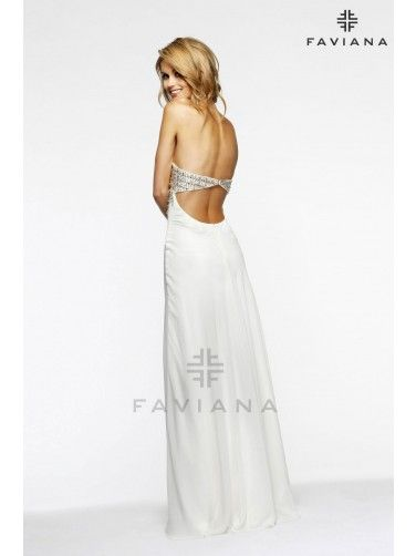 Faviana Prom Dress Strapless Chiffon Featuring A Beaded Bust And Ornate Beading At Empire Waist