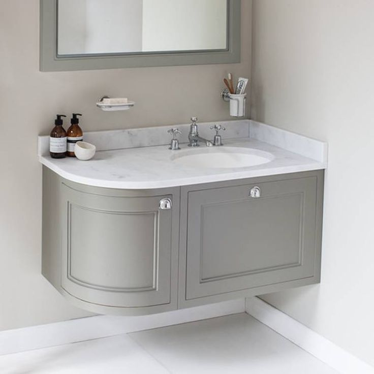 Burlington Olive 1000mm Wall Hung Curved Vanity Unit