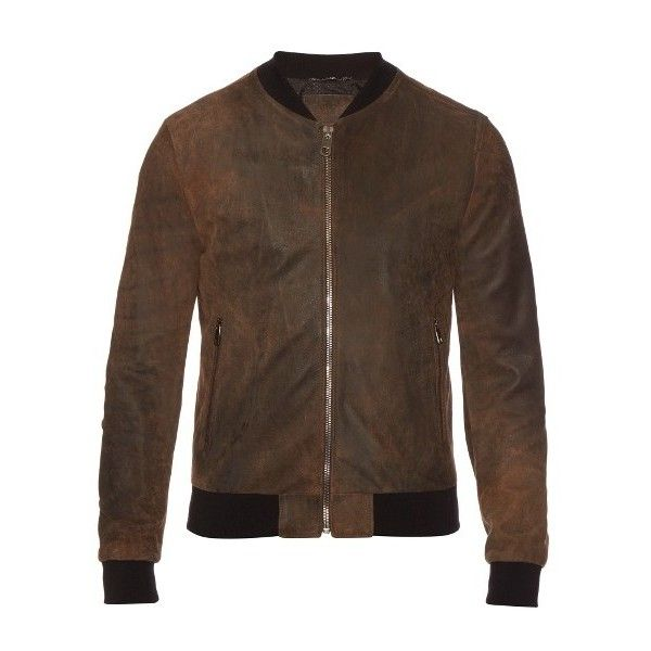 Dolce & Gabbana Suede bomber jacket ($2,210) ❤ liked on Polyvore featuring men's fashion, men's clothing, men's outerwear, men's jackets, brown, mens suede leather jacket, mens suede jacket, mens brown jacket, mens brown leather bomber jacket and mens suede bomber jacket